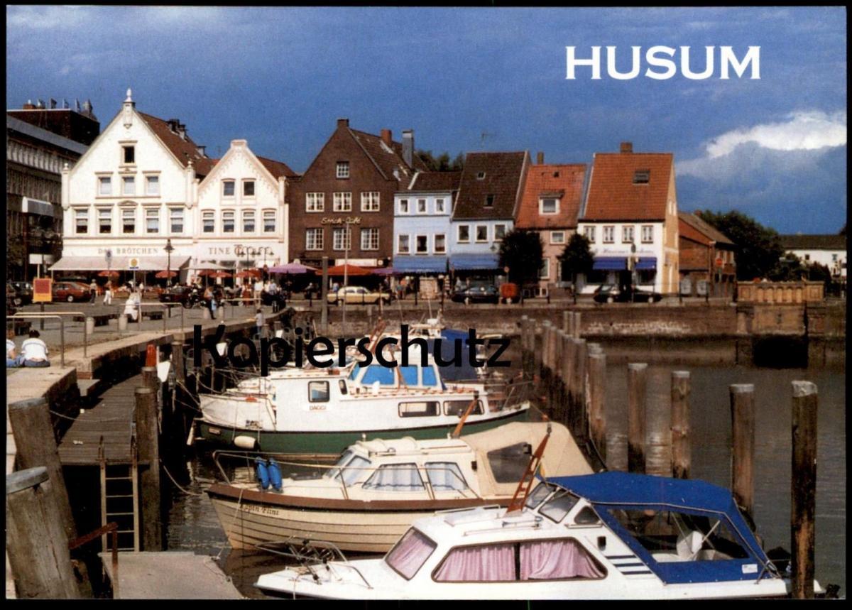 ÄLTERE POSTKARTE HUSUM HAFEN NORDSEE BOOTE harbour Boot Autos Auto Mercedes Ansichtskarte postcard cpa AK