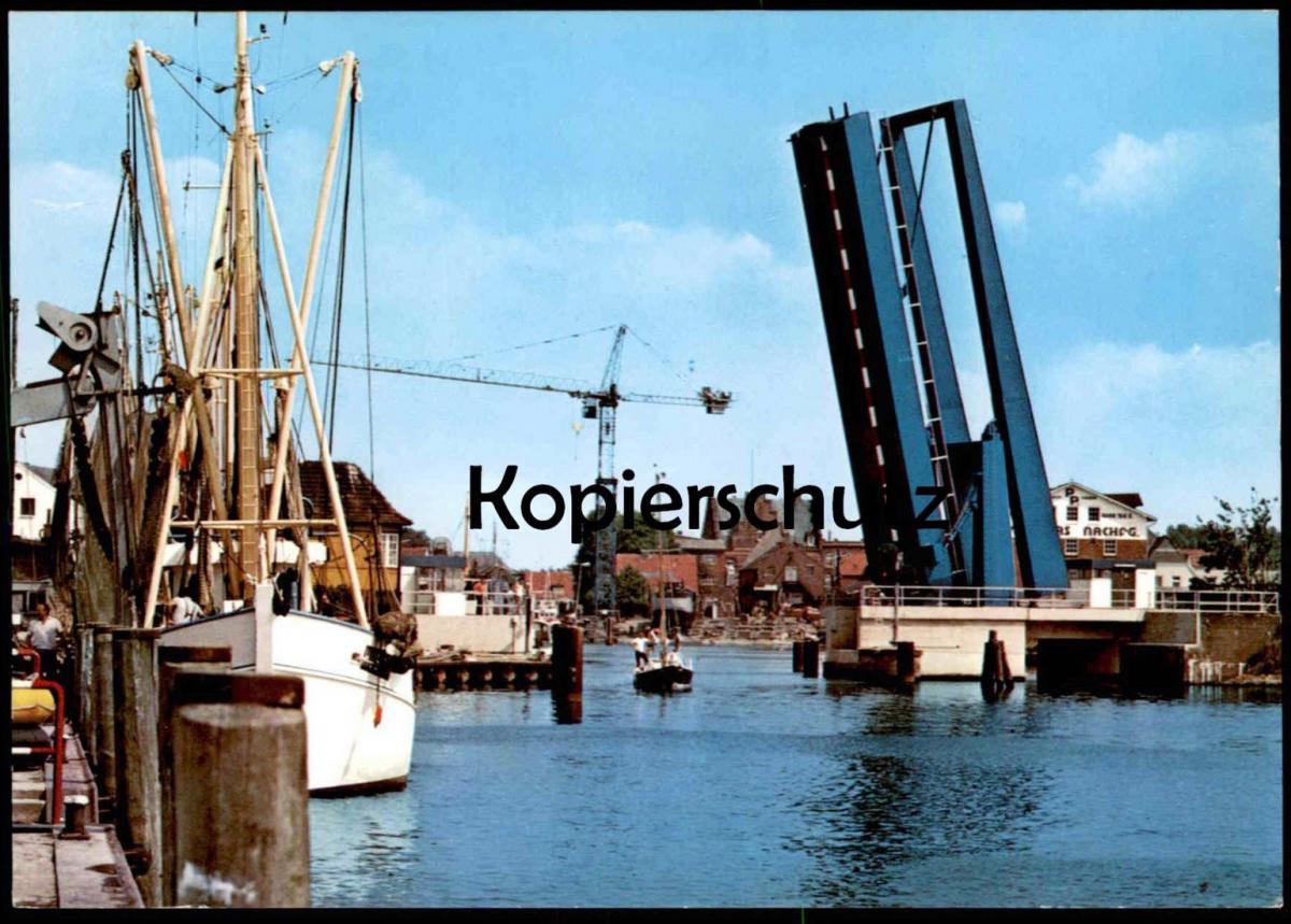 ÄLTERE POSTKARTE HUSUM HAFEN KLAPPBRÜCKE Brücke flap bridge counterpoise pont basculant ship Ansichtskarte postcard cpa