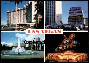 ÄLTERE POSTKARTE LAS VEGAS NEVADA CIRCUS CIRCUS CLOWN HILTON HOTEL TOM JONES USA postcard cpa AK Ansichtskarte
