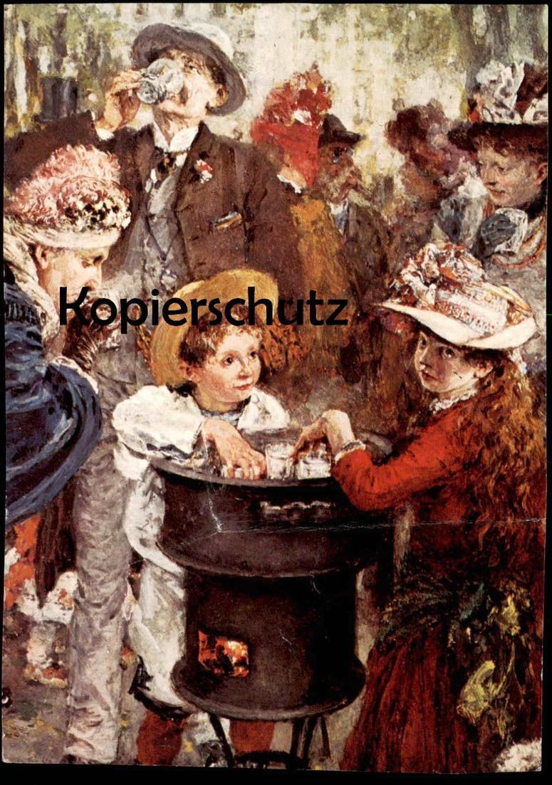 ÄLTERE KÜNSTLER POSTKARTE ADOLPH VON MENZEL BRUNNENPROMENADE BAD KISSINGEN 1890 Galerie Abels Köln Ansichtskarte cpa AK