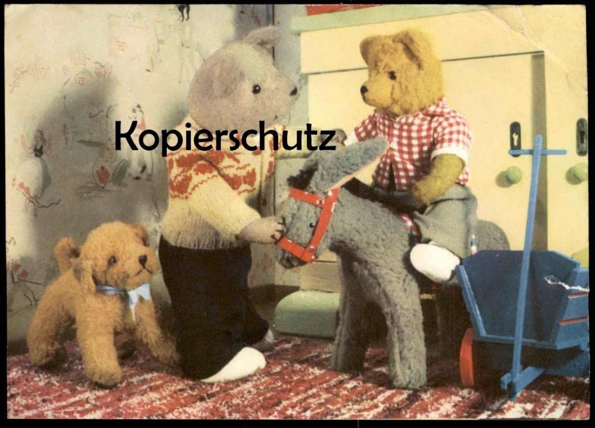 ÄLTERE GLÜCKWUNSCH POSTKARTE TEDDY BÄR ESEL HUND DDR Stofftier bear ours dog chien donkey ane cpa Ansichtskarte postcard
