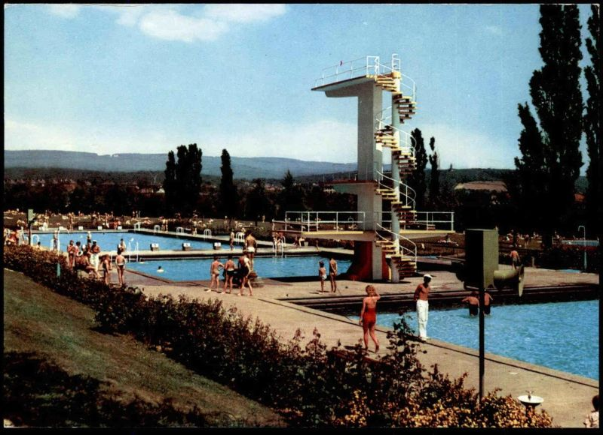 ÄLTERE POSTKARTE WIESBADEN SCHWIMMBAD KLEINFELDCHEN Bad swimming pool piscine AK Ansichtskarte cpa postcard