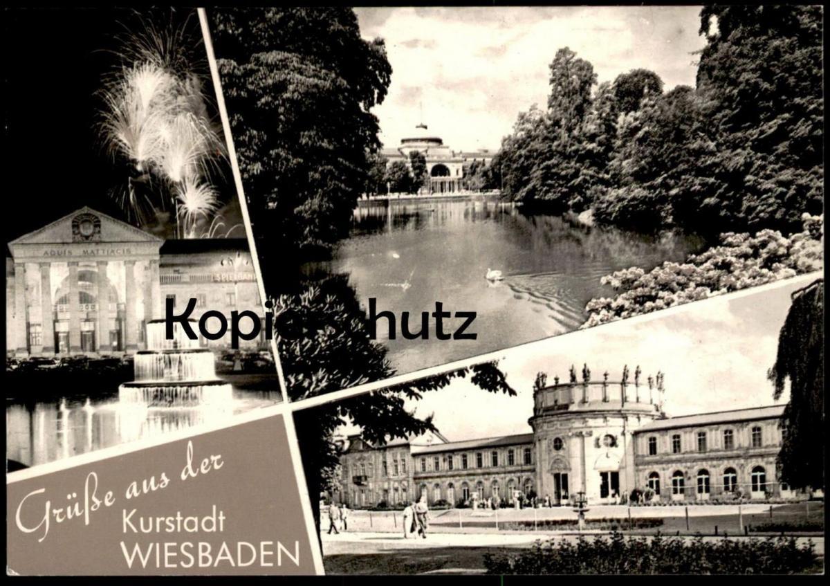 ÄLTERE POSTKARTE GRÜSSE AUS DER KURSTADT WIESBADEN KURHAUS SCHLOSS IN BIEBRICH AK Ansichtskarte cpa postcard