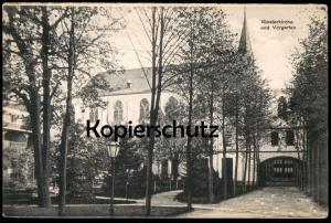 ALTE POSTKARTE MÜLHAUSEN GREFRATH KLOSTERKIRCHE UND VORGARTEN PENSIONAT UNSERER LIEBEN FRAU postcard AK Ansichtskarte