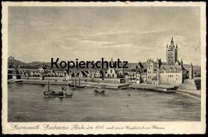 ALTE POSTKARTE KAISERSWERTH AM RHEIN BARBAROSSA PFALZ UM 1645 NACH EINEM KUPFERSTICH MERIAN Düsseldorf Ansichtskarte