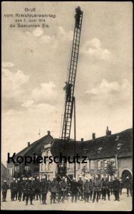 ALTE POSTKARTE SAARUNION GRUSS VOM KREISFEUERWEHRTAG 07.06.1914 FEUERWEHR Sarre-Union fire brigade pompiers cpa postcard