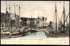 ALTE POSTKARTE KÖNIGSBERG HANDELSHAFEN VON DER BÖRSE GESEHEN Hafen Ostpreussen Kaliningrad port Ansichtskarte postcard