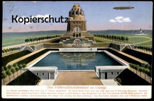 ALTE POSTKARTE LEIPZIG DAS VÖLKERSCHLACHTDENKMAL MIT ZEPPELIN airship Denkmal monument cpa postcard AK Ansichtskarte