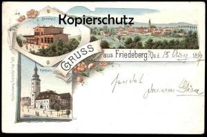 ALTE LITHO POSTKARTE GRUSS AUS FRIEDEBERG QUEIS BAHNHOF RATHHAUS 1897 station gare Mirsk Ansichtskarte cpa postcard AK