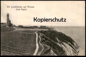 ALTE POSTKARTE INSEL RÜGEN DIE LEUCHTTÜRME AUF ARKONA lighthouse Leuchtturm lighthouses Ansichtskarte AK postcard cpa