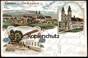 ALTE LITHO POSTKARTE GRUSS AUS GRÜSSAU KLOSTER BRAUEREI TOTALANSICHT brewery Kreszow Kresobor Ansichtskarte AK postcard