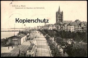 ALTE POSTKARTE CÖLN AM RHEIN FRANKENWERFT MIT STAPELHAUS UND MARTINSKIRCHE RHEINUFERBAHN Heimann Tram Köln Ansichtskarte