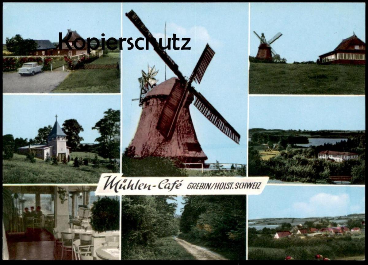 ÄLTERE POSTKARTE MÜHLEN-CAFÉ GREBIN WINDMÜHLE Mill Moulin Windmill Molen Ansichtskarte cpa postcard AK 0