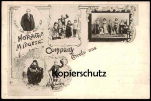 ALTE POSTKARTE HORWATH ZWERGE 1899 Midget verm. Barnum & Bailey Zirkus Horwaths cirque circus nain dwarf postcard cpa AK