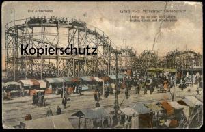 ALTE POSTKARTE MÜNCHEN GRUSS VOM MÜNCHNER OKTOBERFEST DIE ACHTERBAHN roller coaster Lustig ist es hier und schön...