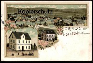 ALTE LITHO POSTKARTE GRUSS AUS HOLZFELD BEI HIRZENACH SCHULHAUS GASTWIRTSCHAFT VON ANTON KARBACH BOPPARD cpa postcard AK