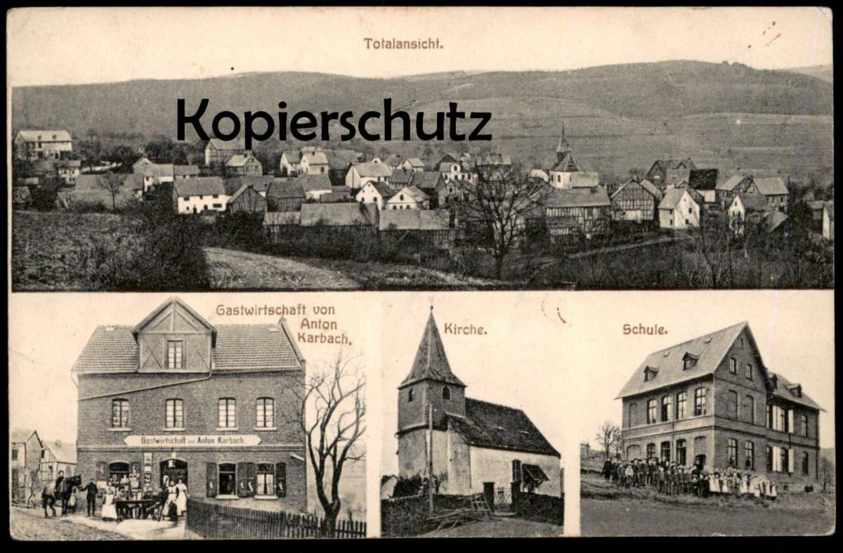 ALTE POSTKARTE GRUSS AUS HOLZFELD TOTALANSICHT KIRCHE SCHULE GASTWIRTSCHAFT VON ANTON KARBACH BOPPARD cpa postcard AK 0