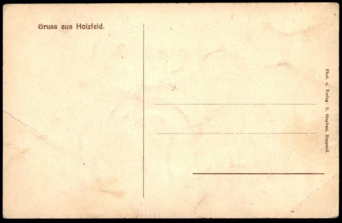 ALTE POSTKARTE GRUSS AUS HOLZFELD TOTALANSICHT KIRCHE SCHULE GASTWIRTSCHAFT VON ANTON KARBACH BOPPARD cpa postcard AK 1