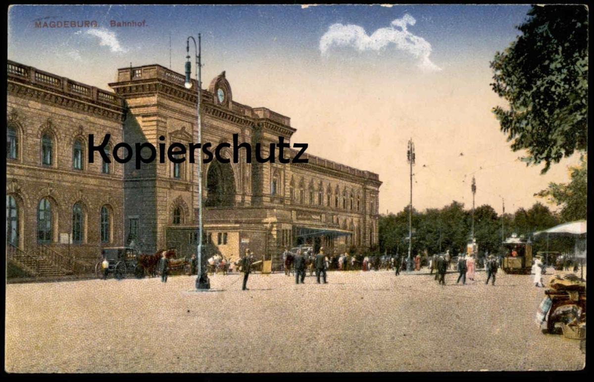 ALTE POSTKARTE MAGDEBURG BAHNHOF 1918 mit Verkaufsstand Strassenbahn station gare Ansichtskarte postcard cpa AK 0