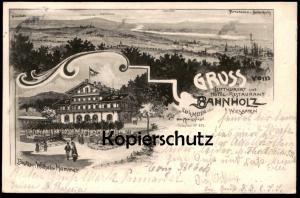 ALTE LITHO POSTKARTE GRUSS VOM HOTEL RESTAURANT BAHNHOLZ BEI WIESBADEN Bierstadt Mainz Ansichtskarte cpa postcard AK
