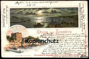 ALTE LITHO POSTKARTE GRUSS AUS SASSNITZ INSEL RÜGEN Strandpromenade Hafen Chocolaterie francaise Wien Ansichtskarte AK