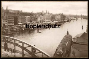 ALTE POSTKARTE STETTIN FISCH-BOLLWERK Goldrand Frachtschiff cargo ship bateau Pommern Szczecin Poland polska postcard AK