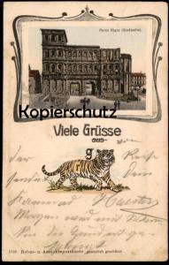 ALTE RÄTSEL POSTKARTE VIELE GRÜSSE AUS TIGER TRIER HUMOR REBUS Porta Nigra Ansichtskarte postcard cpa AK