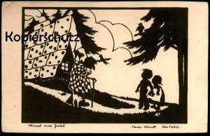 ALTE POSTKARTE HÄNSEL UND GRETEL MÄRCHEN SCHERENSCHNITT IDA NEHLS Hexe Eule owl fairy tale Ansichtskarte postcard witch