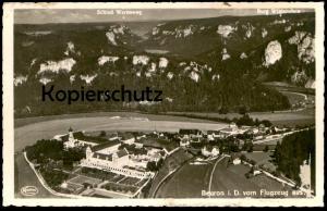 ALTE POSTKARTE BEURON VOM FLUGZEUG AUS Fliegeraufnahme Luftbild Kloster Werenwag Wildenstein postcard cpa Ansichtskarte