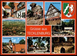 ÄLTERE POSTKARTE GRÜSSE AUS TECKLENBURG MARKTPLATZ BURGTOR LEGGE NRW FELS Ansichtskarte postcard AK cpa