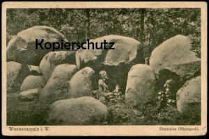 ALTE POSTKARTE WESTERCAPPELN SLOPSTEINE HÜNENGRAB Wanderer Westerkappeln Grab megalithic tomb Megalithgrab grave tombe