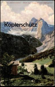 ALTE POSTKARTE VOR DER HÖLLENTALHÜTTE BLICK AUF ZUGSPITZE UND RIFFELSPITZEN GRAINAU Alpen Ansichtskarte cpa postcard AK