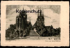 ALTE KÜNSTLER POSTKARTE ERFURT DOM UND SEVERINKIRCHE Radierung Kirche church église postcard AK Ansichtskarte cpa