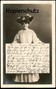 ALTE POSTKARTE FRAU MIT TAFEL HUT ROSEN WOMAN FEMME FILLE MISS MÄDCHEN 1902 hat cpa art postcard AK Ansichtskarte