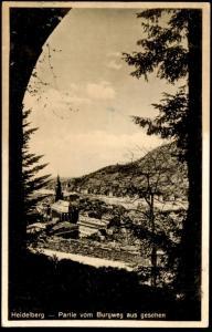 ALTE POSTKARTE HEIDELBERG PARTIE VOM BURGWEG AUS GESEHEN 1935 STEMPEL HEIDELBERG RUFT: KOMM postcard Ansichtskarte cpa