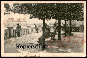 ALTE POSTKARTE BONN ALTER ZOLL MIT BLICK AUF DAS SIEBENGEBIRGE 1911 Kanone gun cannon canon postcard AK Ansichtskarte
