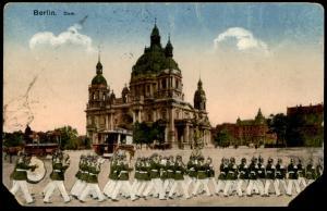 ALTE POSTKARTE BERLIN DOM MIT SOLDATEN MUSIKKAPELLE REGIMENT MUSIK Soldat soldiers music musicians Ansichtskarte cpa AK