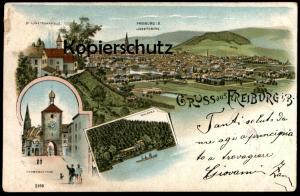 ALTE LITHO POSTKARTE GRUSS AUS FREIBURG IM BREISGAU WALDSEE SCHWABENTHOR LORETTOBERG KAPELLE Ansichtskarte postcard cpa