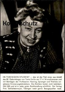 ÄLTERE POSTKARTE IN TÜBINGEN STUDENT TANTE EMILIE 1954 PROFESSOR HAERING SPRANGER THIELICKE postcard Ansichtskarte cpa