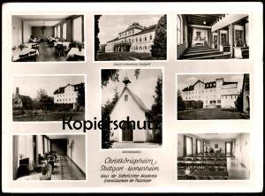 ÄLTERE POSTKARTE STUTTGART HOHENHEIM CHRISTKÖNIGSHEIM 1959 INNENANSICHTEN interieur Haltestelle Plieningen Ansichtskarte