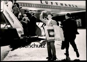 ÄLTERE POSTKARTE LUFTHANSA IN ANGENEHMER GESELLSCHAFT FRED ASTAIRE LILLI PALMER DEBBIE REYNOLDS TAB HUNTER LH postcard