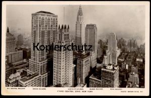 ALTE POSTKARTE NEW YORK CITY GRAND CENTRAL ZONE CHRYSLER BUILDING N.Y. CENTRAL LINCOLN CHANIN NEWS BUILDING postcard cpa