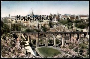 ÄLTERE POSTKARTE LUXEMBOURG VUE GÉNÉRALE 1955 ROSA KIRSCHBLÜTE GRUND LUXEMBURG cpa postcard Ansichtskarte AK