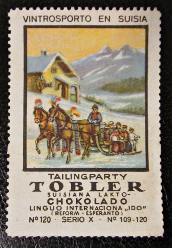 Reklamemarke Tobler Suisiana Lakto Chokolado Vintrosporto en Suisia