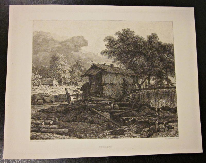 Original Everdingen pinx Kupferstich / Zeichnung Mühle Landschaft von J. Eissenhardt - O. Felsing -