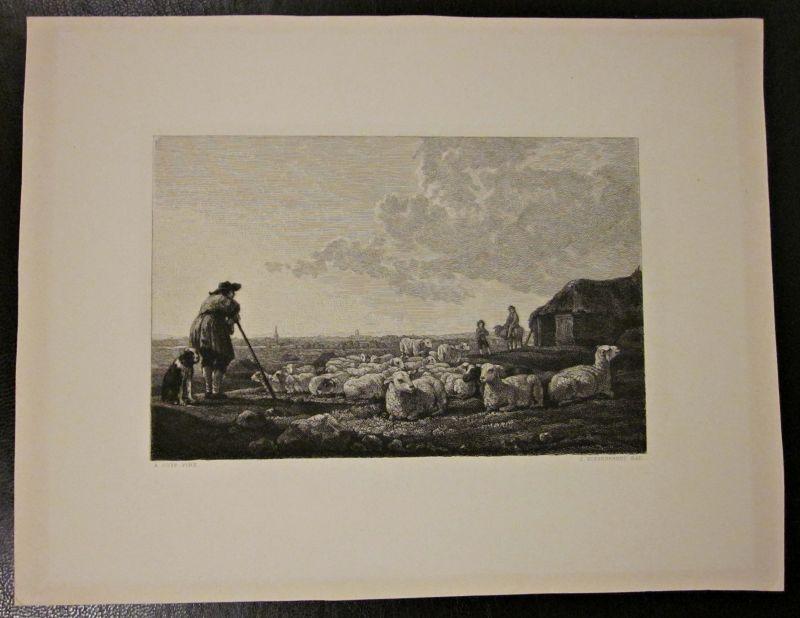 Original Kupferstich / Zeichnung A. CUYP PINX Schäfer Landschaft von J. Eissenhardt
