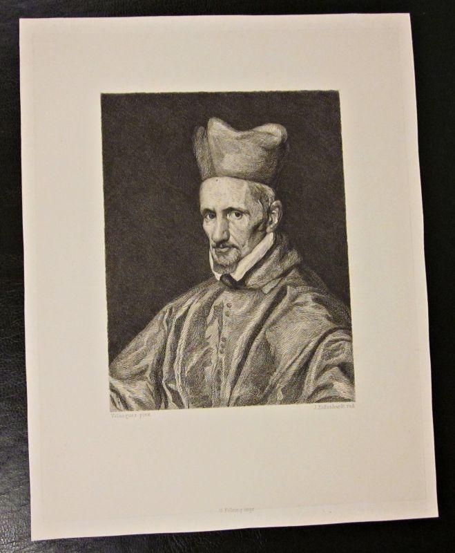 Original Kupferstich / Zeichnung VELASQUEZ pinx von J. Eissenhardt