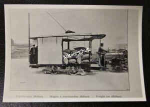Foto Abzug Replica Straßenbahn Frachtwagen um 1900 in Bilbao Spanien