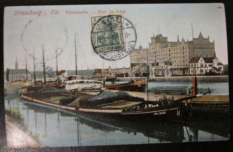 Alte Ansichtskarte Strassburg Rheinhafen Schiffe 1909