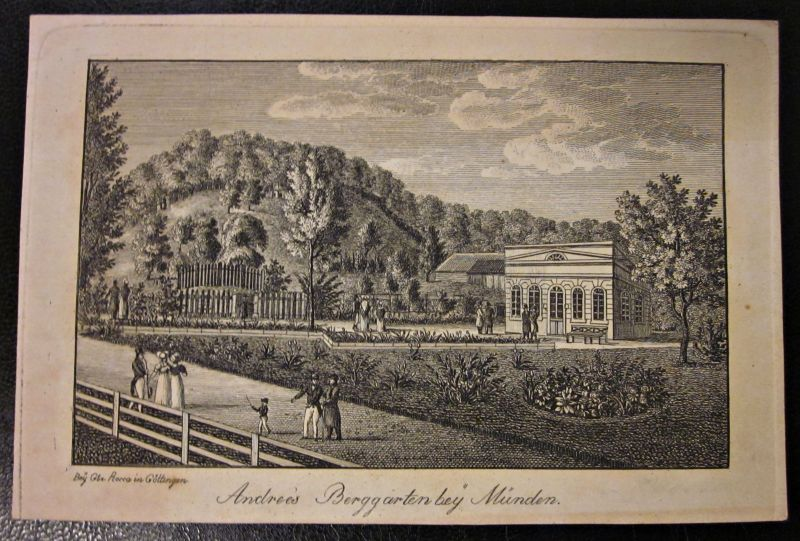 Kupferstich Gebr. Rocca Göttingen Berggarten bei Münden Umseitig beschriftet 1834
